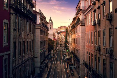 lisbonas,portugal,miestas,miesto,pastatai,bažnyčia,architektūra,dangus,debesys,saulėlydis,dusk,paskirties vietos,orientyrai,gatvė,hdr