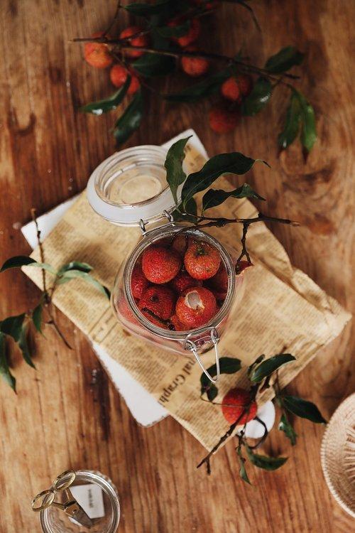 litchi  fruit  mason jar