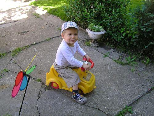 little boy moped garden