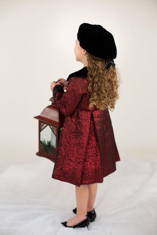 little girl red coat lantern