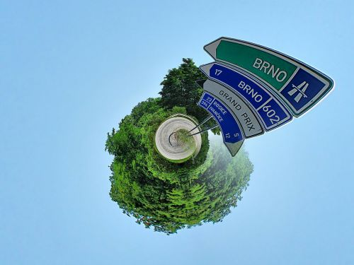 little planet road signs street signs