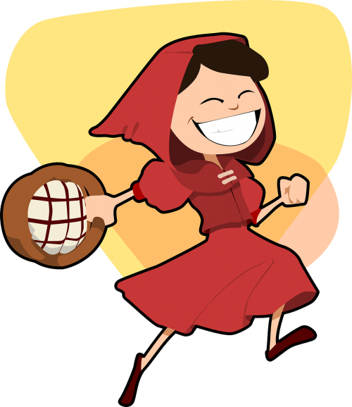 little red riding hood girl running