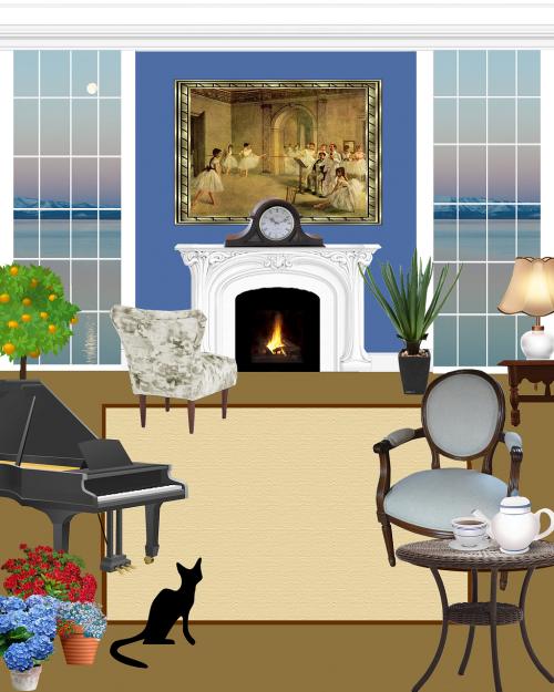living room living black cat