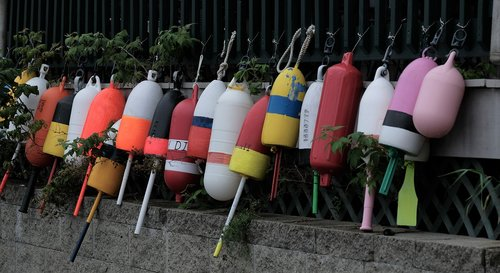 lobster buoys  buoys  colorful