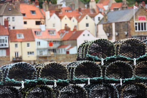krepšelis, gaudyti, krabas, įranga, žuvis, žvejys, žvejyba, uostas, industrija, omarai, jūrų, Tinklelis, neto, užskaitos, krūva, puodą, puodai, lynai, krūva, spąstus, omarų puodai