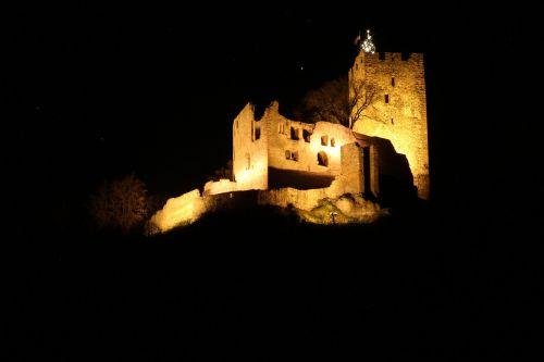 local at night burgruine castle