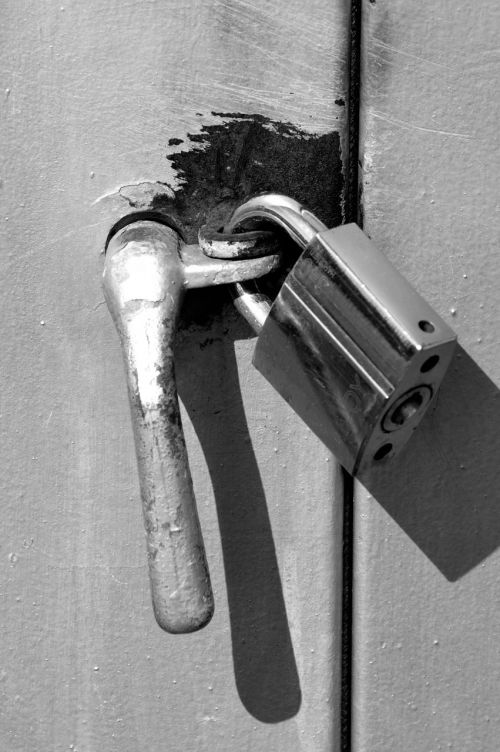 lock monochrome close-up