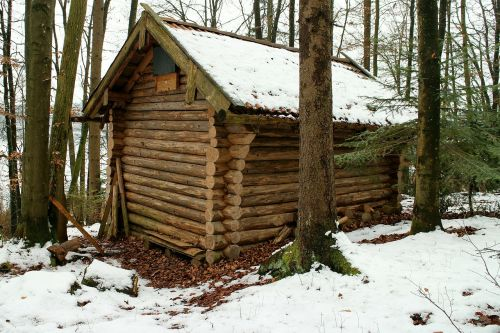 log cabin block house forest