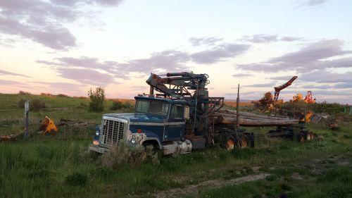 logging truck old truck rural