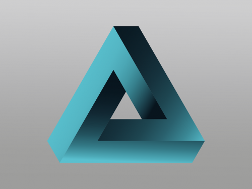 logo,penrose triangle,impossible,vector,illusion,signet,mysterious,3-d effect,tribar,optical deception,3d fantasy,free vector graphics