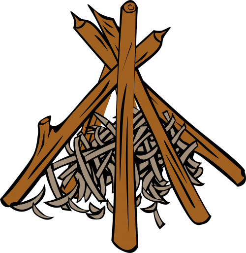 logs campfire shavings