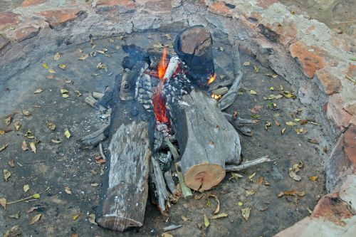 Logs Burning In Fire Pit