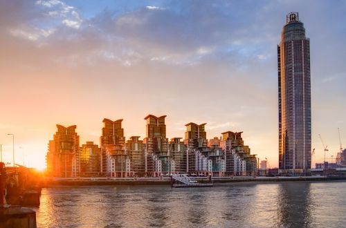 london st george wharf tower sunrise