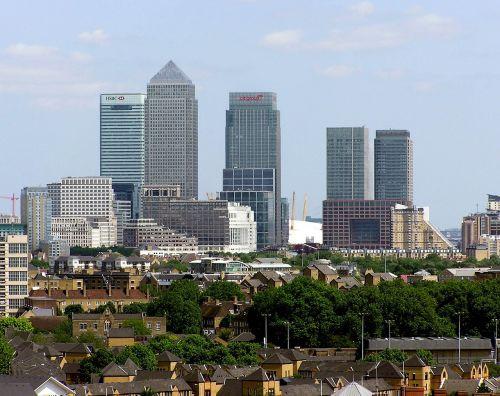 london skyline canary wharf