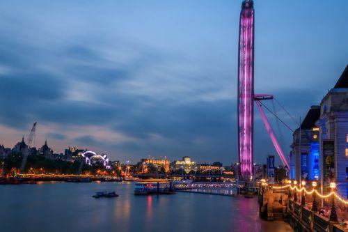 london eye river thames london at dusk