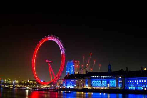 london eye night city