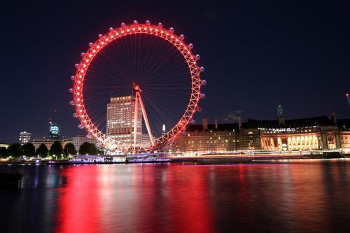 london eye at night london eye across thames london