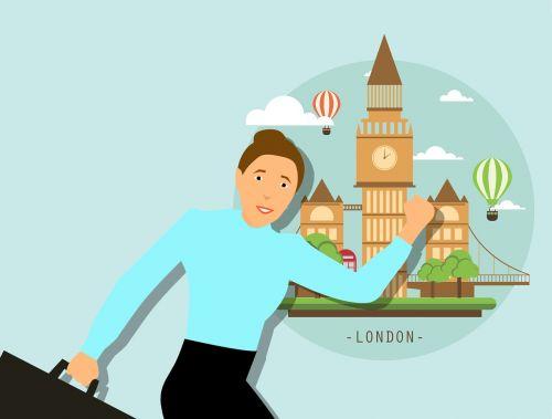 london skyline traveler travel woman