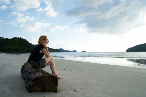 loneliness women's beach