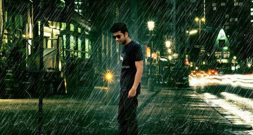 lonely boy alone raining