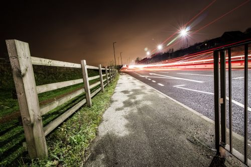 long exposure light trails transport