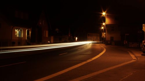 long exposure night road