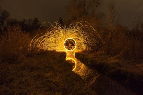 long exposure steel wool night photo