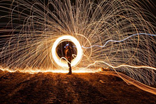 long exposure light traces night