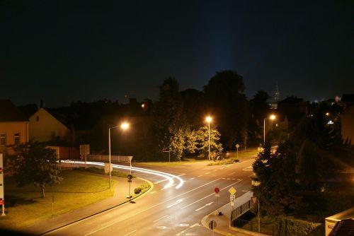 long exposure road light