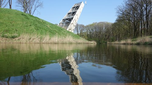 lookout tower  reflection  landscape