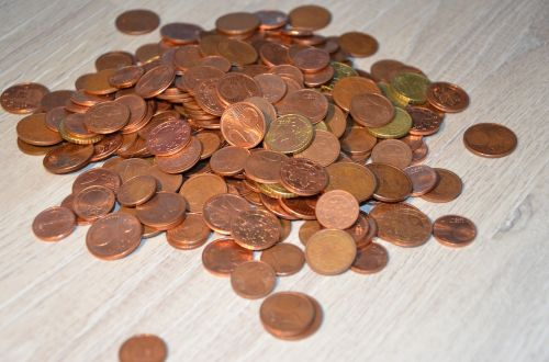 loose change coins brown