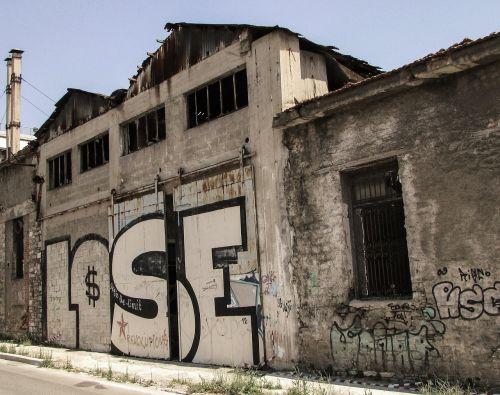 prarasti,skilimas,senoji gamykla,paliktas,krizė,prarasti,nesėkmė,bankrotas,nepavyko,Graikija
