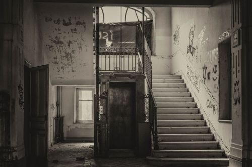 lost places elevator stairs