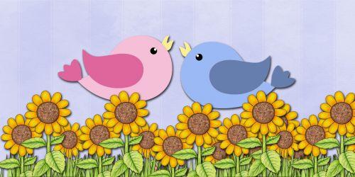 Love Birds & Sunflowers