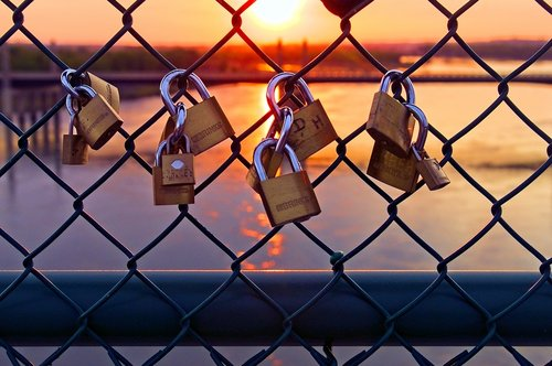 love locks at sunset  love  padlock