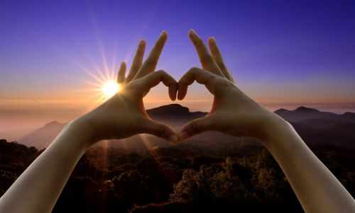 love sign hands sunset