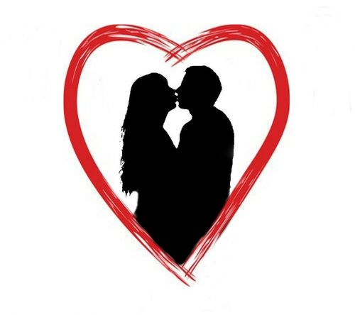 lovers heart silhouette