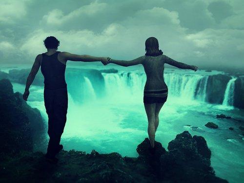 lovers  waterfall  rock