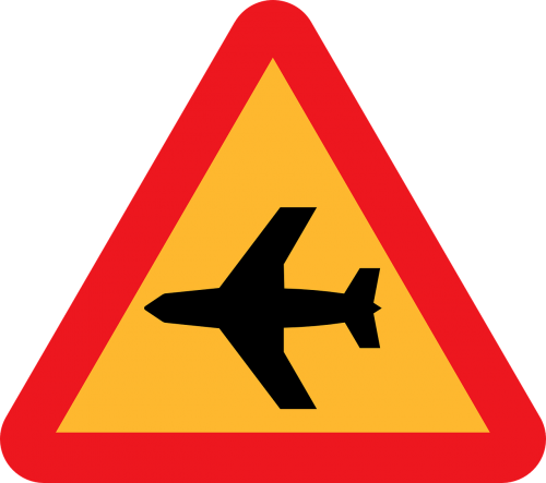 low flying aircraft sudden noise roadsign