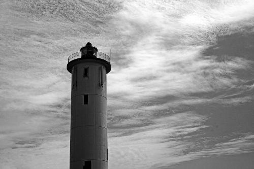 švyturys, bokštas, švyturys, aukštas, įspėjimas, jūrų, dangus, debesys, mažas raktas efektas švyturys