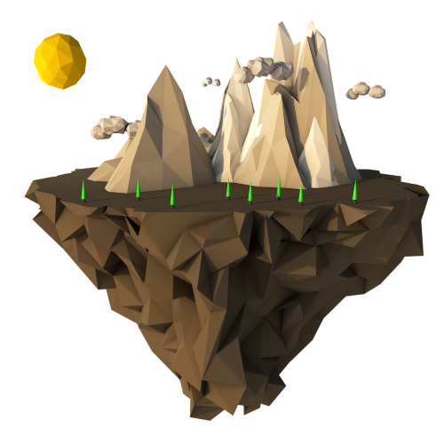 low poly floating island 3d