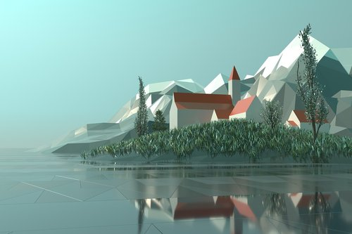 low poly  3d  rendering