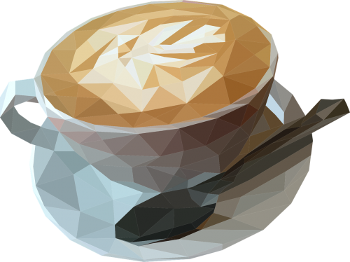 low poly coffee coffee cup