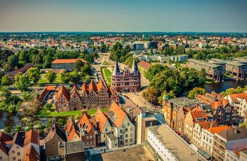 lübeck  holsten gate  aerial view