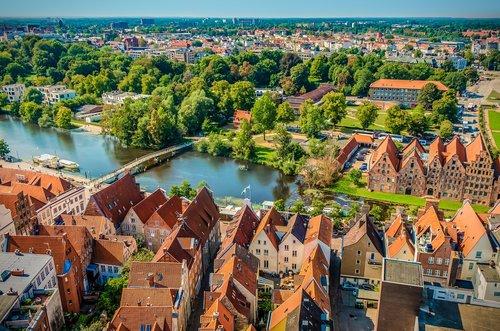lübeck  aerial view  waters