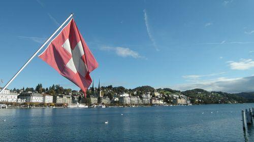 lucerne lake lucerne region swiss flag