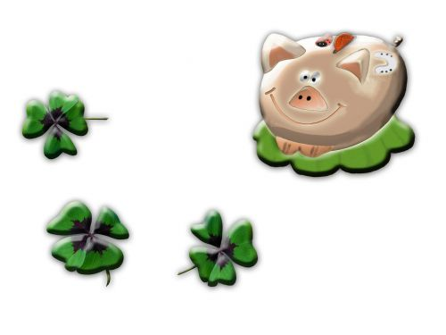 lucky pig four leaf clover new year's day
