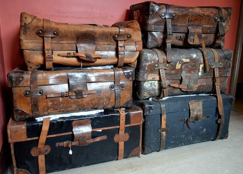 luggage leather suitcase worn