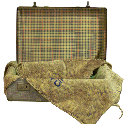 luggage old suitcase jute bag