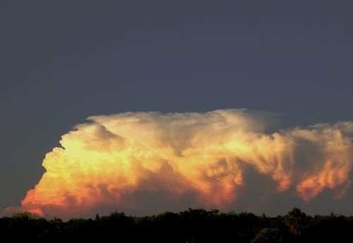 debesis, bankas, cumulus, tvirtas, pūlingas, saulėlydis, spalvos, šviesus, žėrintis, dangus, šviesos debesys banke